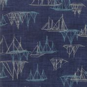 Moda - Ebb and Flow by Janet Clare - 6977 - Sailing Boats on Navy - 1486 12 - Cotton Fabric
